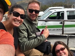 The public bus only took us part way, so we had to ride an ute the rest of the way to Lake Cuicocha