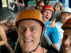 Riding the bus to our canyoning adventure