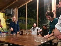 Burt and Keith prepare for the beer pong tournament