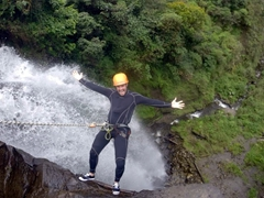 Hands free as Robby takes the leap of faith, a 50 meter jump into the abyss