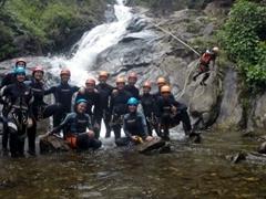 Group photo at the base of Ulba Waterfall