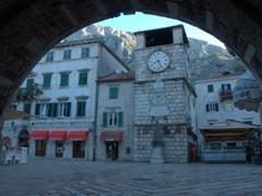 Archway view of the Tower Clock