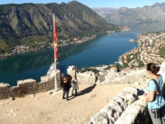 Becky admiring the amazing view from the top of St John's Fortress