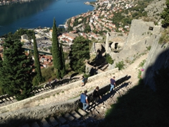 It is so  much easier going down than up! Here is a view of the steeper, narrower main trail to St John's Fortress