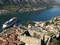 The Bay of Kotor with our cruise ship, Costa Mediterranea, in port for the day