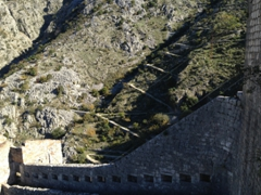 Our old mule path is visible from the ramparts of St John's Fortress