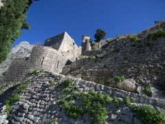 A close up view of the fortifications of Kotor