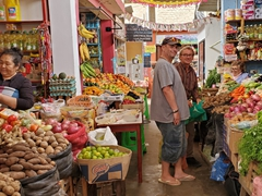 Rob and Jurgen doing cook group shopping; Huanchaco market