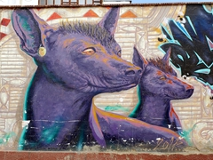 Mural of Peruvian hairless dogs; Huanchaco