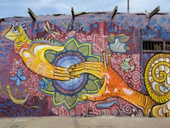 Colorful street mural; Huanchaco
