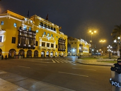 Police on guard at night in Lima's Plaza Mayor