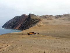 Spongebob (our truck) at our bush camp at Paracas National Reserve