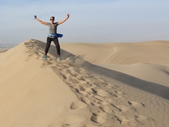 Jumping for joy at Huacachina