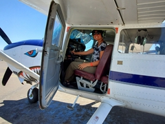 Behind the wheel of our scenic plane to see the Nazca lines