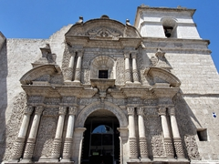 Church of the Company, a small baroque church famous for its elaborate facade; Arequipa