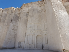 Carvings at the Sillar white volcanic stone quarry; Arequipa