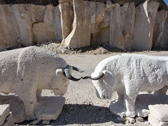 Bulls carved from sillar (white volcanic stone)