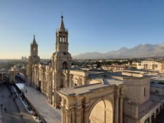 View of the Basilica Cathedral of Arequipa at sunset
