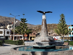 Condor statue in the central square of Cabanaconde