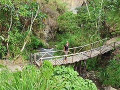 Crossing a rickety wooden bridge; Jungle Trek