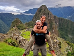 Laughing as we are the first to arrive to Machu Picchu at 6 am and not a soul in sight!