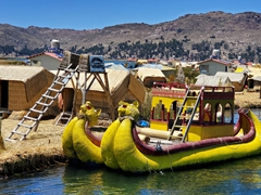 A tourist sized reed boat; Uros Islands