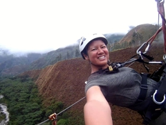 Day 3 of our Inca Jungle Trek adventure - ziplining high above the Sacsara River