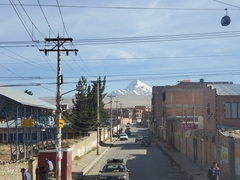 Driving through La Paz with Illimani Mountain in the background