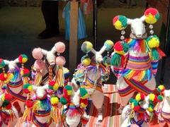 Colorful llama souvenirs; Colchani