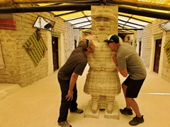 Robby and Jason do bad things to the female salt statue; Playa Blanca salt hotel