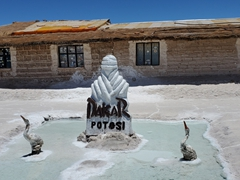 Salt carving outside the Playa Blanca Salt Hotel