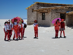School kids visiting the Uyuni Salt Flats
