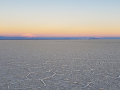The afterglow shows us the detail of the world's largest salt flat