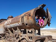 Becky and Cam at the Uyuni train cemetery