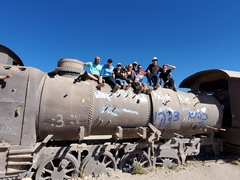 Group photo at Uyuni's train cemetery