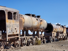 Old locomotives left to rot at Uyuni's train graveyard