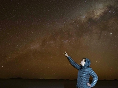 Pointing at the milky way; Uyuni Salt Flats