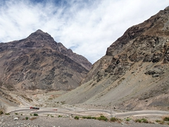 Switchbacks on the Chilean side of the Los Libertadores Pass linking Santiago to Mendoza, Argentina