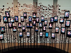 Never forget - a wall of all those murdered and disappeared at the Museum of Memory and Human Rights; Santiago