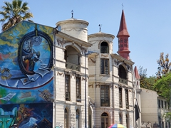 Mural painted on Cité Las Palmas, a historic building in Santiago
