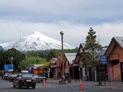Snow-capped Villarrica volcano dominates the town of Pucón