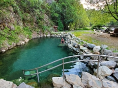 Soaking in the Los Pozones hot springs