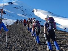 Getting up at 5:30 am to hike to the top of Villarrica Volcano!