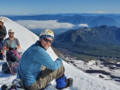 Enjoying the views and a quick breakfast at our first rest stop; Villarrica Volcano