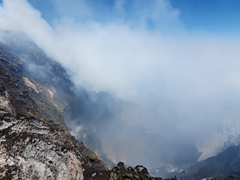 Staring into the crater of Villarrica Volcano