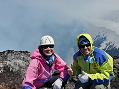 Happy that the hard part of the day is over; Villarrica Volcano