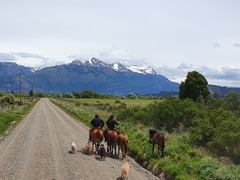Gauchos by the roadside as we enter Chile at the Futaleufú border crossing