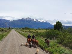 Gauchos by the roadside as we enter Chile at the Futaleufú border crossing