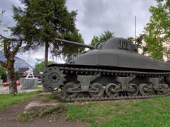 A tank greets all visitors to the town of Coyhaique, a gateway to the remote sections of Patagonia