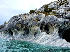 A dog formation appears in the far left of this massive marble cave; Puerto Rio Tranquilo